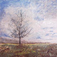 Winter Tree Encaustic Painting