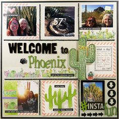 Thoroughly enjoyed this visit to the botanical garden outside of Phoenix. I had no idea there was so much beauty in the desert! Here's a grid style layout using wide cactus washi tape and bling from Eyelet Outlet. The cactus - wearing a pair of sun
