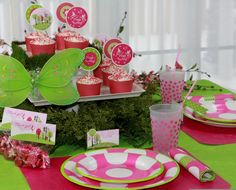 Woodland fairy birthday party invitations, hot pink lime green polka dot plates napkins and fairy cupcake printables · The Celebration Shoppe