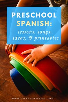 Tips lesson plans activities songs games and free printables for teaching preschool Spanish! This curriculum for PreK and early elementary Spanish is fun and easy to use with kids in class or at home. Preschool Spanish Lessons, Spanish Games For Kids, Spanish Lesson Plans, Kindergarten Lesson Plans, Preschool Curriculum, Teaching Spanish, Spanish Activities, Learn Spanish, Spanish Worksheets