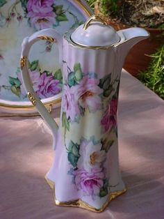 -chocolate pot, pink roses, porcelain, victorian, vintage, antique,