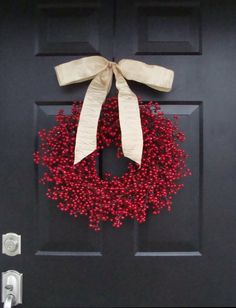 Rustic Red Berry Wreath, Winter Wreath, Burlap Bow, Christmas Wreaths, Wedding Wreath, Rustic Wedding Decor, Burlap Bow
