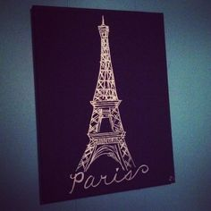 DIY Eiffel Tower picture for a Paris inspired room!