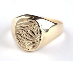 14K Gold Filled Flower etching Signet ring 14K by PaulaLapidot