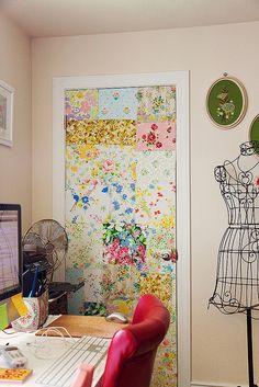 vintage fabric patchwork door. . .very cool backdrop!