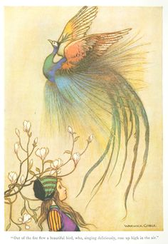 """""""Out of the fire flew a beautiful bird, who, singing deliciously, rose up high in the air."""" Illustration by Warwick Goble for """"The Juniper Tree"""", 1923. From 'The Fairy Book' by Dinah Maria Mulock."""