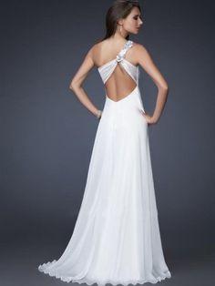 2012 Style A-line One Shoulder Hand-Made Flower Sleeveless Floor-length Chiffon White Prom Dress / Evening Dress