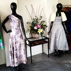 1940's Floral Gown and ghost tailor 1960's grey ball gown