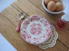 Red Tonquin Plate for Dollhouse by ALavenderDilly on Etsy