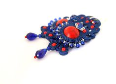Long royal blue soutache earrings red blue earrings by pUkke
