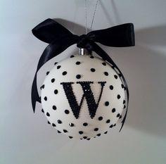 "PERSONALIZED 4"" Matte Bling Rhinestone Shatterproof Christmas Ornament (1 initial)"