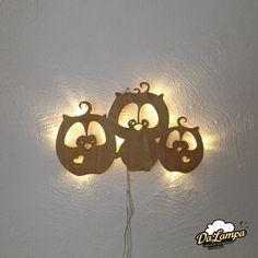 Wandleuchten - Wandlampe 3 Eulchen aus Holz mit LED ho03 - ein Designerstück von Dalampa bei DaWanda