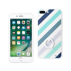 Reiko REIKO IPHONE 7 PLUS STRIPE PATTERN TPU CASE WITH ROTATING RING STAND HOLDER