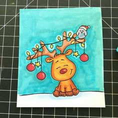 This is so cute I love it - Zeichnung Christmas Drawing, Christmas Paintings, Diy Christmas Cards, Christmas Art, Draw So Cute Christmas, Christmas Pictures, Doodles, Easy Drawings, Cardmaking