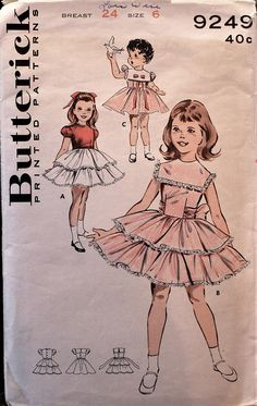This is a rare find! Butterick sewing pattern in Girls size - Back button bodice has darts for better fit. The full, full skirt is attached to the bodice with gathers. May be made with a high round neckline or a square overcollar. Moda Vintage, Vintage Girls, Vintage Children, 50s Vintage, Vintage Items, Sewing Patterns Girls, Vintage Patterns, Clothes Patterns, Vintage Party Dresses