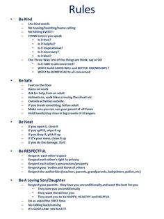 Indispensable Kid Rules Every Parent Should Follow House Rules  tweaked this one!