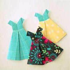 Ó, šaty. Origami Paper, Handmade Cards, Paper Crafts, Rompers, Scrapbook, Tie, Summer Dresses, Accessories, Ideas