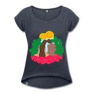 Paradise love Camiseta con manga enrollada mujer Camiseta de mujer en cómo estilo boyfriend. 60 % algodón, 40 % poliéster. Marca: Hi5