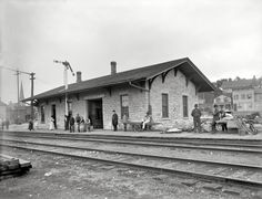 """Lemont, Illinois, circa 1902. """"Station of the Chicago & Alton R.R. Taken from Canal Street."""""""