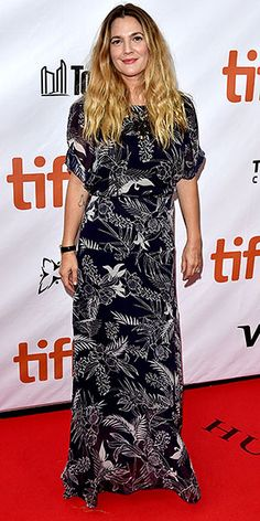 Every Fashion Moment You Need to See from the Toronto Film Festival | DREW BARRYMORE | Is pretty in a printed dress while making her way through the red carpet.