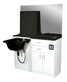 Project ideas with CounterBalance products: Salon station with sink. Flip up counter