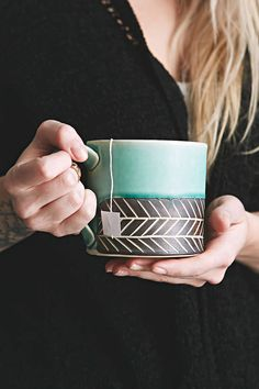 Jessica Wertz X Uo Chevron Hand Carved Mug