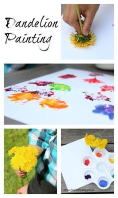 Dandelion Painting: Use nature to create art. Great kids creative art project.