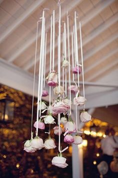 Romantic Weddings - rose streamers to hang from the ceiling
