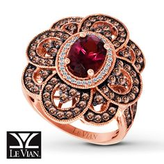 Le Vian LeVian Rhodolite Garnet 1 cttw Diamond Ring 14K Strawberry Gold