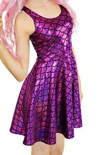 Wish | Fashion Women Purple Skater Dresses Pleated Dress