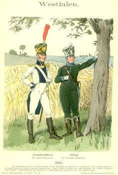 Westphalia; Line Infantry, Grenadier Officer & Light Infantry, Officer, 1812