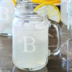 Personalized Monogrammed Drinking Jar (Set of 4)