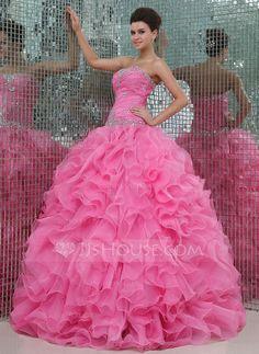 Corte de baile Escote corazón Vestido Organdí Vestido de quinceañera con Bordado Cascada de volantes (021017441)