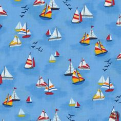 Sailboats Quilting Fabric - Blue