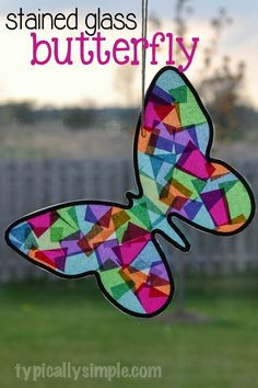 A craft to make with the kids! Using tissue paper and black construction paper, this butterfly looks like it's made from stained glass. crafts ideas for kids Stained Glass Butterfly Craft glass crafts for kids Fun Crafts For Kids, Summer Crafts, Toddler Crafts, Preschool Crafts, Crafts To Make, Easy Crafts, Art For Kids, Craft Kids, Children Crafts
