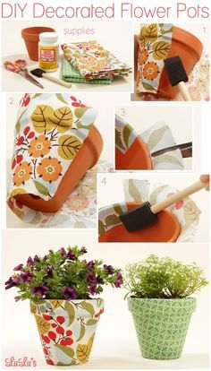 9 DIY Decoupage Craft Ideas - two pink canaries Flower Pot Crafts, Clay Pot Crafts, Fun Crafts, Diy And Crafts, Mod Podge Crafts, Mod Podge Ideas, Recycled Crafts, Decorated Flower Pots, Painted Flower Pots
