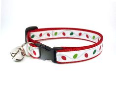 Holiday Cat Collar - Christmas Lights - Holiday String Lights on Red - by MadeByCleo