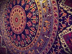 This tapestry has a strong cultural element presented. It is within in the realms of Indian design. The indicators of this is the small, intricate patterns. The patterns resemble those to Henna tattoos.