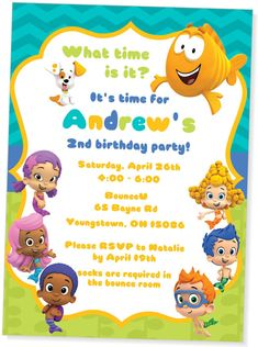 Bubble Guppies inspired birthday party invitation for a boy from My Paper Garden on Etsy https://www.etsy.com/listing/186188537/bubble-guppies-birthday-invitationboy