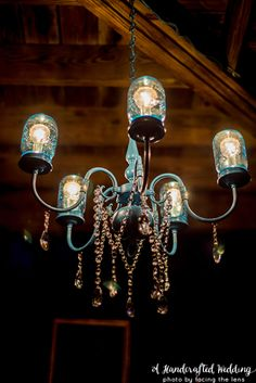 Have an old chandelier just sitting around? Well, turn that thrift shop chandelier into a DIY Mason Jar Chandelier! UpcycledTreasures.com