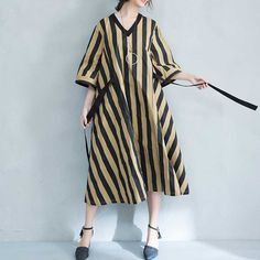 Stripe A-Line Cotton Dress