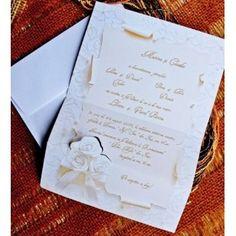 Invitatie de nunta  model ravas, model 2013, realizata din carton lucios de culoare alb cu crem avand in prim plan un buchet de trandafiri. Personalized Items, Model, Scale Model, Models, Template, Pattern, Mockup, Modeling