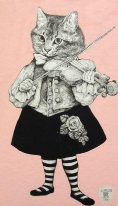 https://www.facebook.com/burnetmoth ヒグチユウコ Yuko higuchi ヴァイオリンを弾く猫