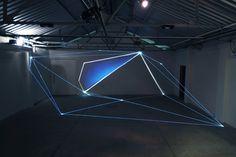 "Carlo Bernardini ""Light Tension"" 2012 Opric Fibers, video, light projection"