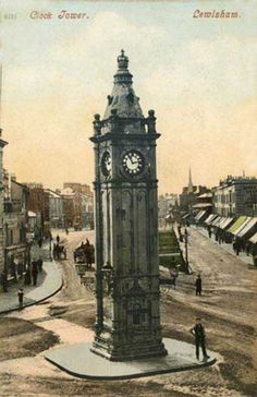 London, Lewisham, Clock Tower 1900's.   Lewisham clock tower was erected to commemorate Queen Victoria's diamond jubilee of 1897.  The tower nearly survived a century in its original location, but was slightly moved in 1995 to fit in with the refashioning of the High Street and other main roads.