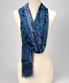 Look at this #zulilyfind! Blue & Green Floral Silk-Blend Shawl by  #zulilyfinds