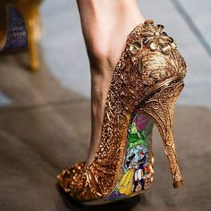 beauty and the beast inspired heels - i need these. (photoshopped, sadly.)