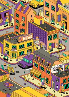 The place by Guillaume Bechon, via Behance Graphic Art, Graphic Design, Pop Art Illustration, Drawing Reference, Book Design, Pixel Art, Cool Pictures, Scenery, Character Design