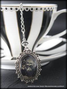Witches Tea Party Black Hat Society Pendant Necklace Witch Pendant Necklace Witches Coven