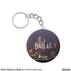 Dallas Skyline at Night Basic Round Button Keychain